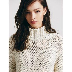 Free People Cream Chunky Cowl Neck Sweater